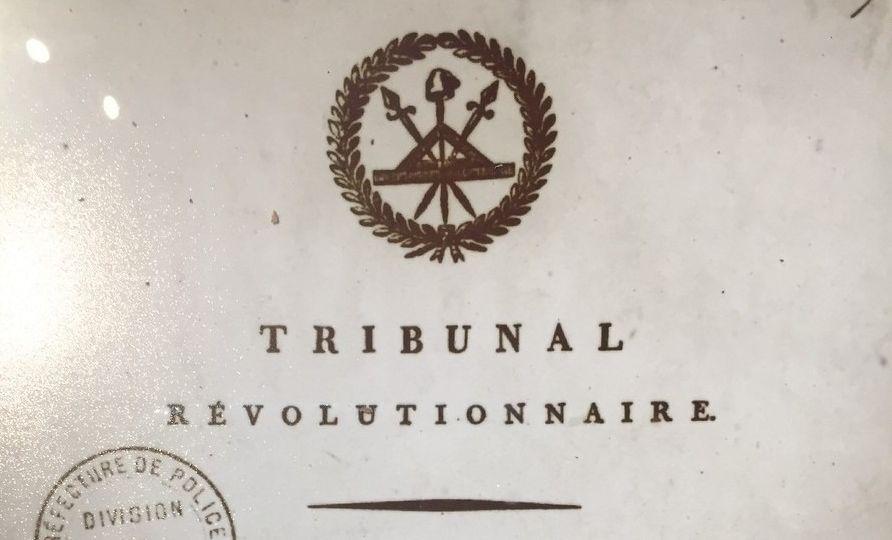 Haut de page d'un jugement au Tribunal révolutionnaire en juillet 1794