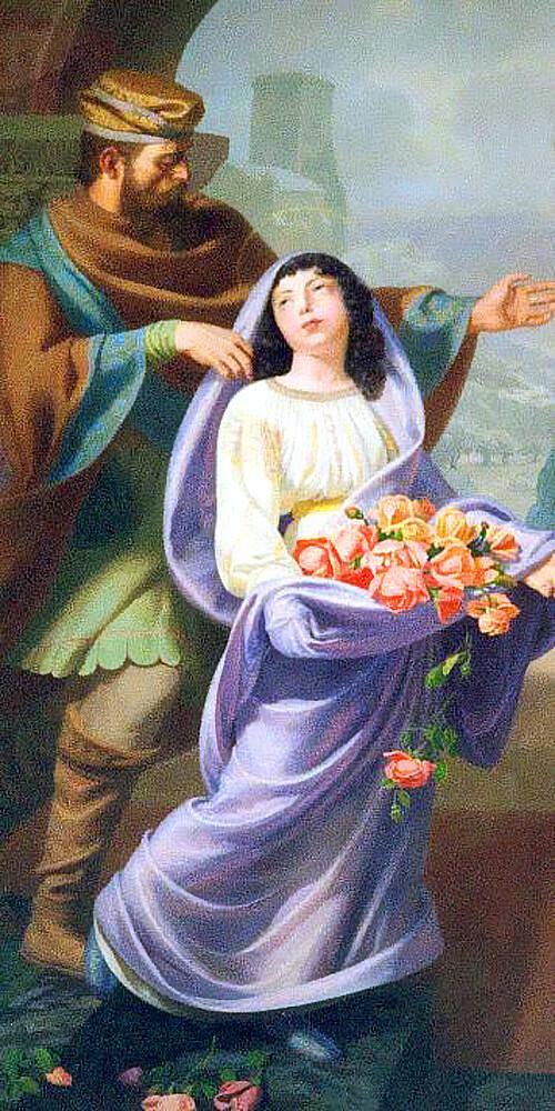 Roseline et son père Arnaud de Villeneuve - tableau de l'église Sainte-Roseline de Roquefort la Bédoule