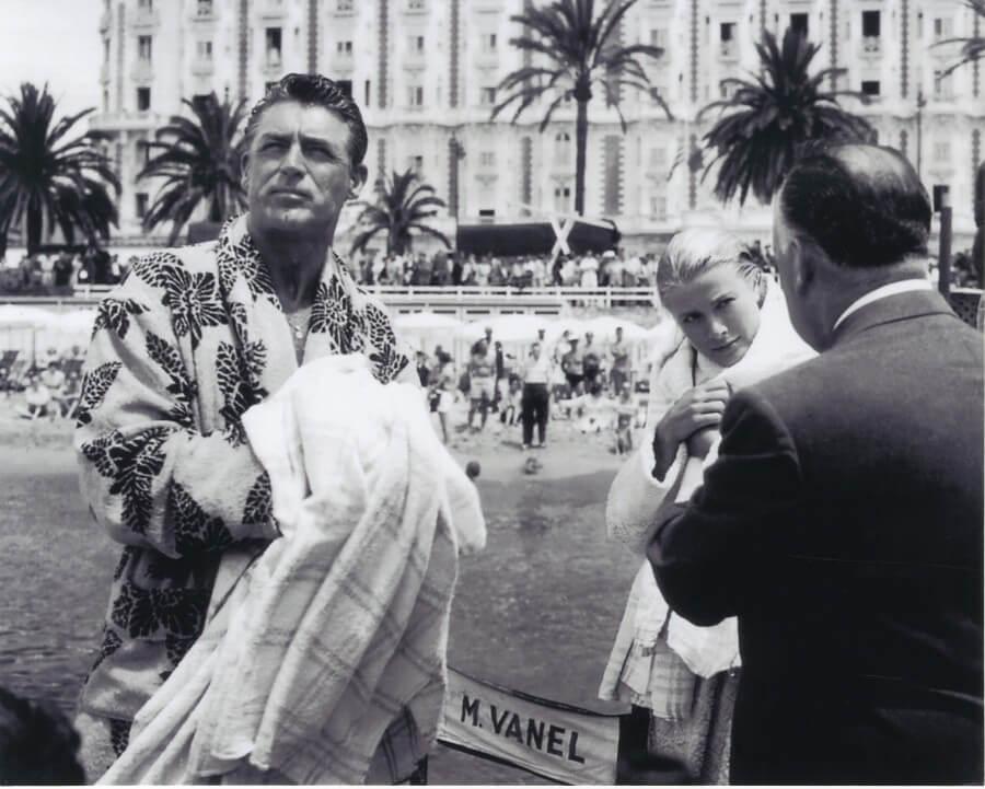 Cary Grant, Grace Kelly et Alfred Hitchcock à Cannes en 1955